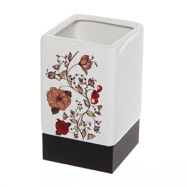 Набор для ванной из 4-х предметов керамический, полевые цветы купить оптом и в розницу