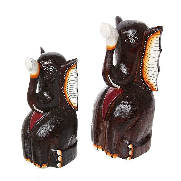 Фигурки из дерева ″Слоны сидячие 2шт″, 20,25 см купить оптом и в розницу