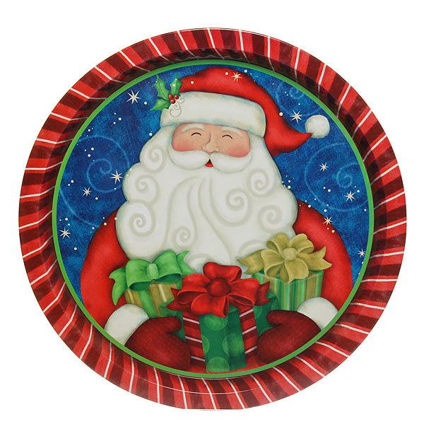 Поднос жестяной 32см ″Дед Мороз с подарками″ купить оптом и в розницу