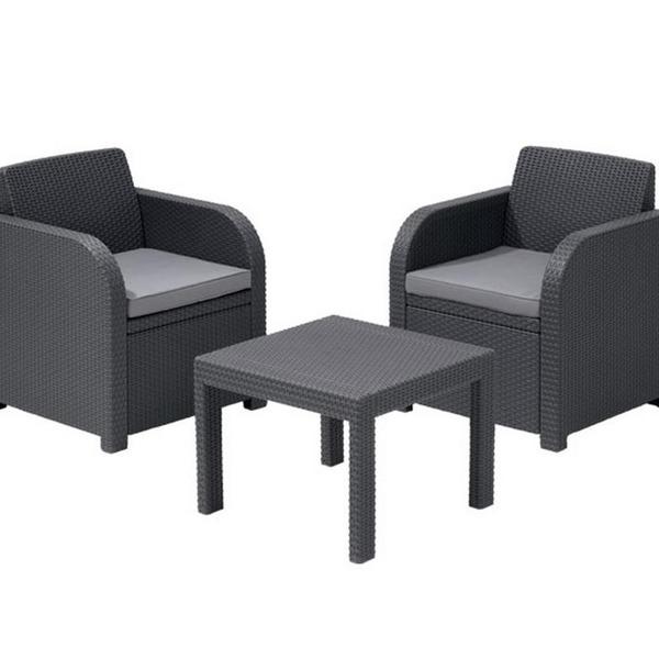 Комплект садовой мебели  из 3-х предметов  (искусственный ротанг)МОДЕНА БАЛКОН серый купить оптом и в розницу