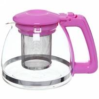 Чайник заварочный стеклянный 900 мл розовый купить оптом и в розницу