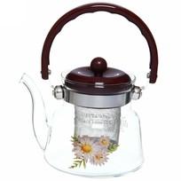 Чайник заварочный стеклянный 600 мл ″Цветы″ (2) купить оптом и в розницу