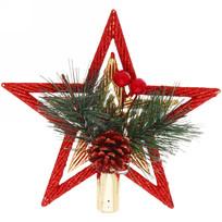 Звезда на ёлку 15 см ″Звездный кант с шишкой″ красный/золото купить оптом и в розницу