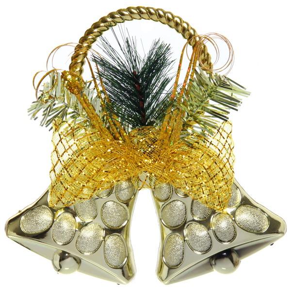 Украшение новогодние 18*18 см Колокольчики золото купить оптом и в розницу