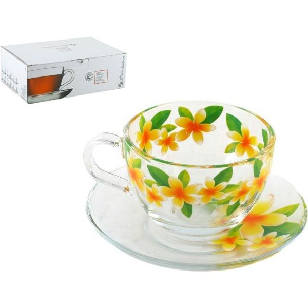 Набор чайный 12пр 215мл Бейзик ЦВЕТОК ЖАСМИНА круговая деколь, на блюдце лепковая (1/4) купить оптом и в розницу