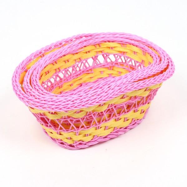 Корзинка плетёная в наборе 3 шт цветная овальная купить оптом и в розницу