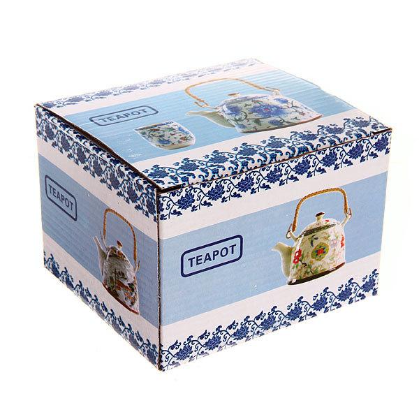 Чайник заварочный керамический 400 мл с ситом ″Иероглифы″ белый камень купить оптом и в розницу