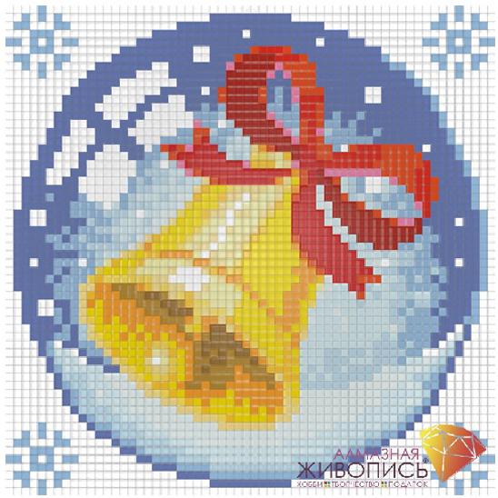 Набор ДТ Картина стразами Новогодний шарик с колокольчиком АЖ-1257 купить оптом и в розницу