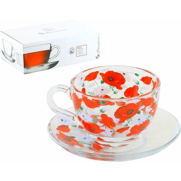 Набор чайный 12пр 215мл Бейзик МАКИ-РОМАШКИ круговая деколь, на блюдце лепковая (1/4) купить оптом и в розницу