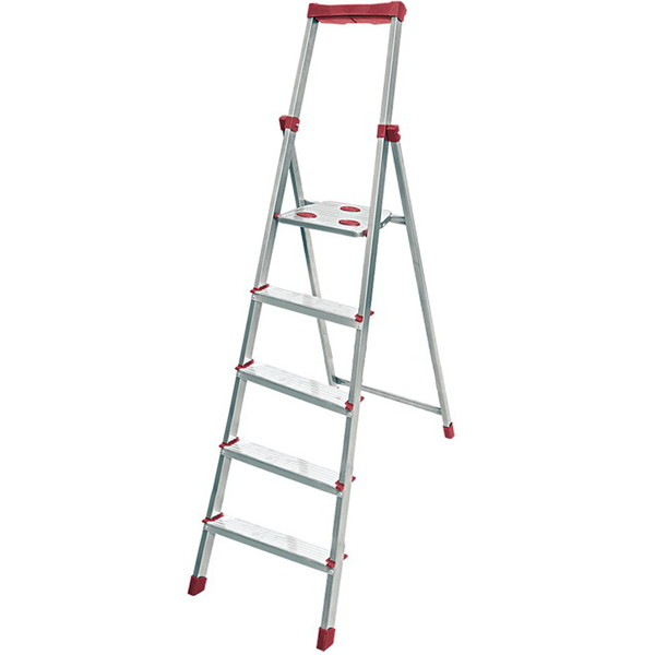 Стремянка алюминиевая 5 ступеней, высота до платформы 1170 мм, вес 5,2 кг, до 150 кг СА5 НИКА купить оптом и в розницу