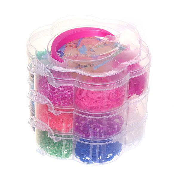 Набор резинок для плетения браслетов 2800шт 21 цвет 3-х ярусный Цветок купить оптом и в розницу
