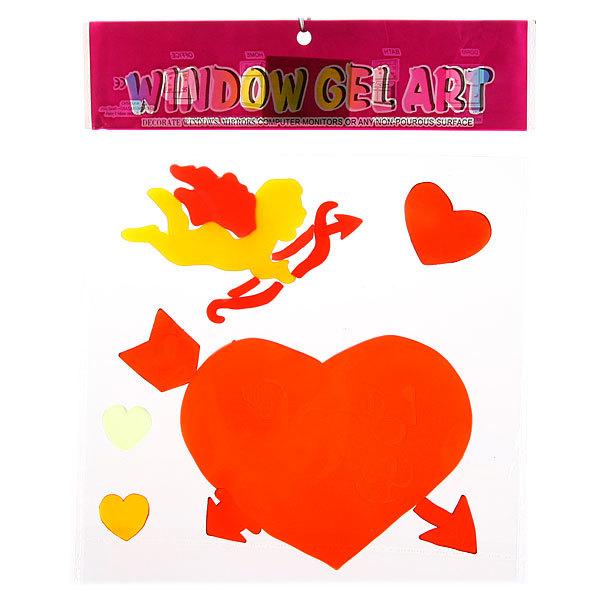 Наклейки силиконовые 20*26см ″Сердце с ангелом″ В2082 купить оптом и в розницу