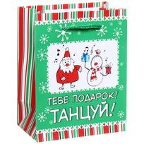 Пакет подарочный 11х14 см вертикальный ″Тебе подарок, танцуй!″, Снежон и Борода купить оптом и в розницу