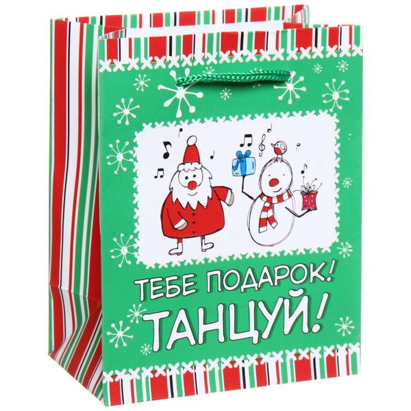 Пакет 11х14 см матовый ″Тебе подарок, танцуй!″, Снежон и Борода, вертикальный купить оптом и в розницу