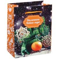 Пакет подарочный 11х14 см вертикальный ″Отличного Нового года″, Вкус праздника купить оптом и в розницу