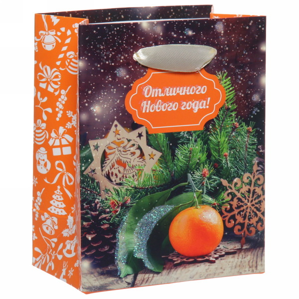 Пакет 11х14 см усиленный с блестками ″Отличного Нового года″, Вкус праздника, вертикальный купить оптом и в розницу