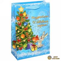 Пакет подарочный 15х22 см вертикальный с блестками ″Поздравляю с Новым годом″, Зайчик купить оптом и в розницу