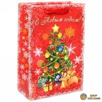 Пакет 15х22 см усиленный с блестками ″С новым годом″, Белочка, вертикальный купить оптом и в розницу