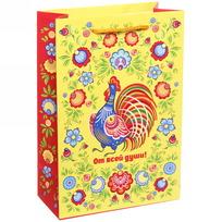 Пакет 15х22 см матовый ″От всей души″, Городецкая роспись, вертикальный купить оптом и в розницу