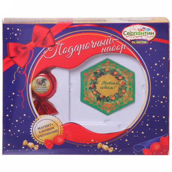 Набор магнит и елочная игрушка-конфетка С новым годом!″, Денежный петушок купить оптом и в розницу