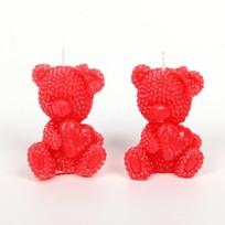 Свеча ″ Мишки с сердцем ″ 2 шт красный 6*4см купить оптом и в розницу