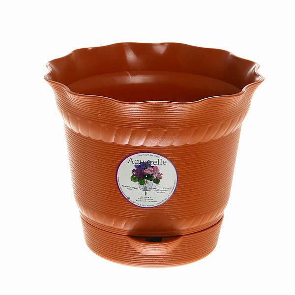 Горшок для цветов AQUARELLE с системой прикорневого полива 1,0 л. 902-6 Терракотовый купить оптом и в розницу