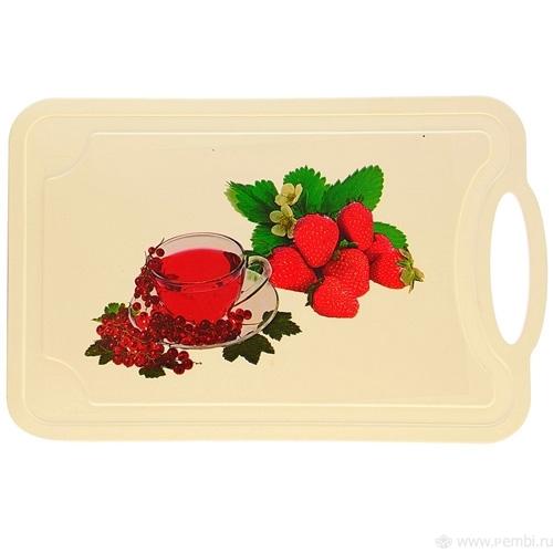 Доска раздел пл 290х185х3 мм Шеф-повар морс и ягоды (Октябрьский)*25 купить оптом и в розницу