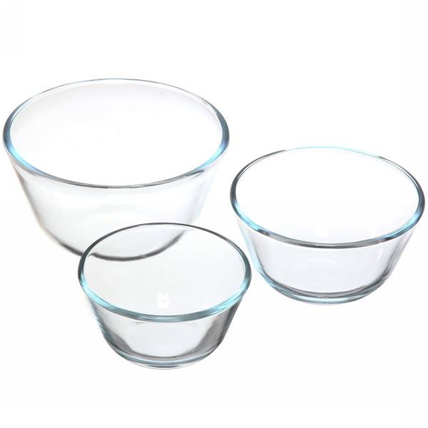 Набор мисок из жаропрочного стекла ″HELPER″ 3 предмета (0,4л; 0,65л; 1,25л) 4523 купить оптом и в розницу