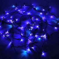 Гирлянда светодиодная 3,4м, 36 ламп LED, Синий, 8 реж, зелен.пров. купить оптом и в розницу