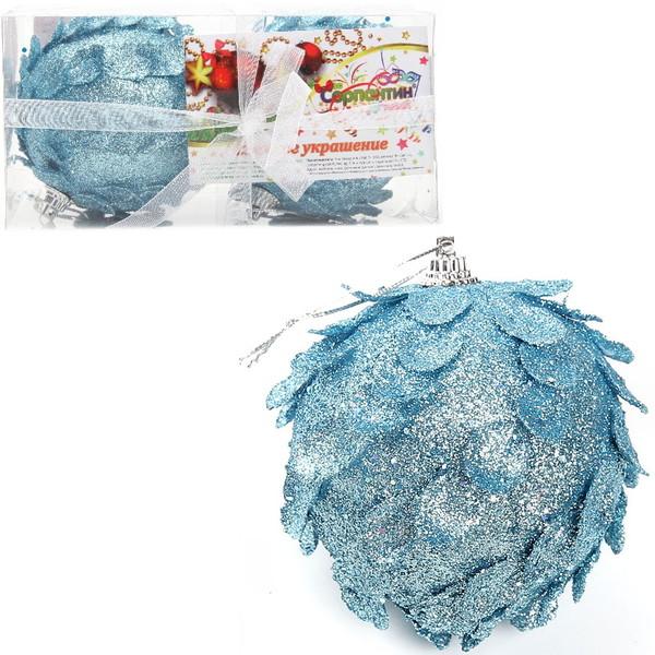 Новогодние шары ″Морозная шишечка″ 8см (набор 2шт.) купить оптом и в розницу
