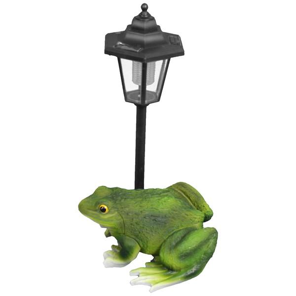 Садовая фигура ″Лягушка с фонариком″ (фонарь светится), полистоун, металл, 31 см купить оптом и в розницу