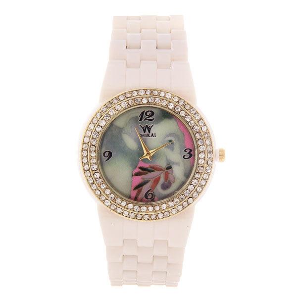 Часы наручные под керамику, цвет белый, оконтовка стразы, цветной циферблат купить оптом и в розницу