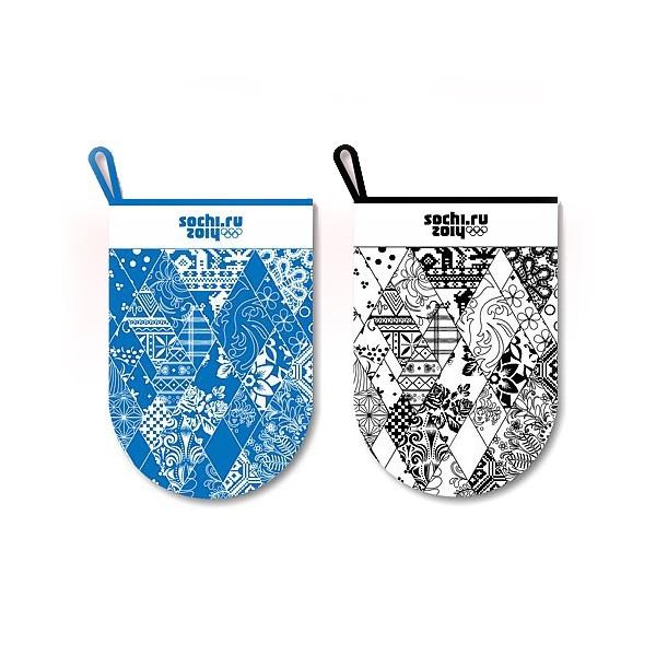 Мочалка-варежка ″Узор Сочи 2014″ BF88-148 купить оптом и в розницу