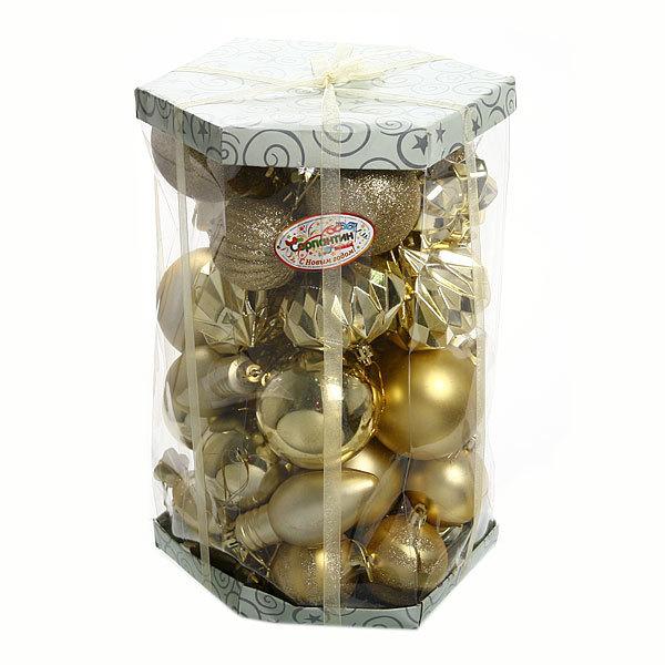Елочные игрушки, набор 48 шт ″Золотой ларец″ золото купить оптом и в розницу