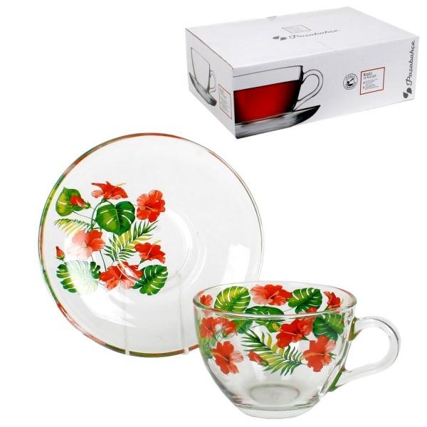Набор чайный 12пр 215мл Бейзик ГАРМОНИЯ круговая деколь, на блюдце лепковая (1/4) купить оптом и в розницу