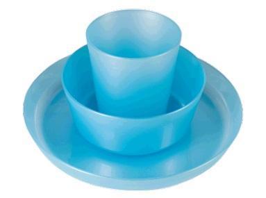Набор детской посуды (тарелка, миска, стакан) голубой перламутр*10 купить оптом и в розницу