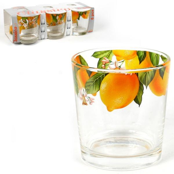 Набор стаканов 6шт 250мл Ода ″Лимон″ круговая деколь низкие купить оптом и в розницу