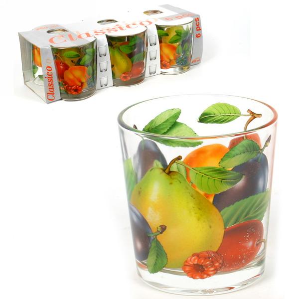 Набор стаканов 6шт 250мл Ода ″Слива″ круговая деколь низкие купить оптом и в розницу