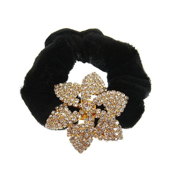 Резинка для волос 1шт ″Вивьен-золотой цветок″, цвет черный купить оптом и в розницу