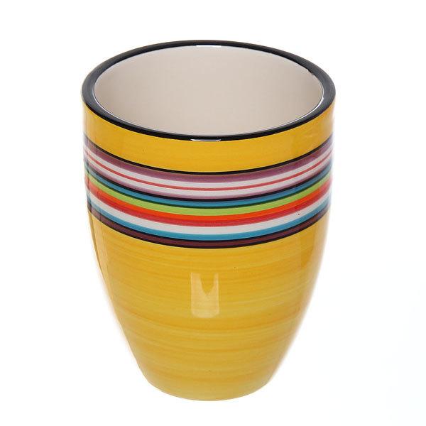 Набор для ванной из 4-х предметов керамический, желтый с полосками купить оптом и в розницу