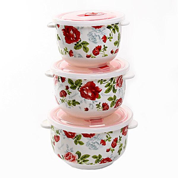 Набор салатников керамических 3шт с крышками ″Розанна″ купить оптом и в розницу