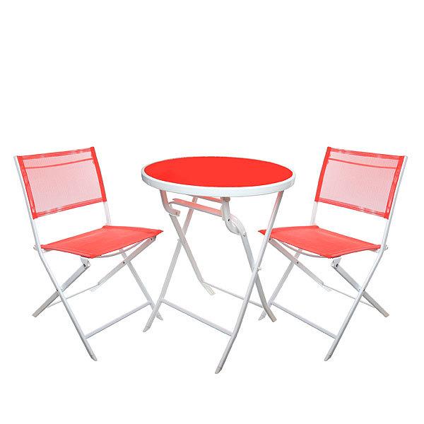 Комплект дачной мебели: стол диам.60 см, 2 складных стула, металл купить оптом и в розницу