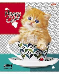 """Тетрадь 48л.кл.скрепка HATBER, """"Happy Cat"""", блестки купить оптом и в розницу"""