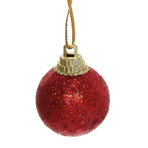 Новогодние шары 3 см ″Рубин″ набор 12 шт, красный купить оптом и в розницу