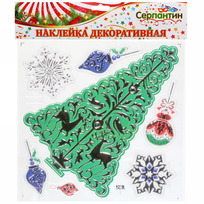 Наклейка на стекло 20*20см ″Новогодняя Ёлочка″ RXH016 купить оптом и в розницу