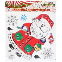 Наклейка на стекло 20*20см ″Дед Мороз″ RXH018 купить оптом и в розницу