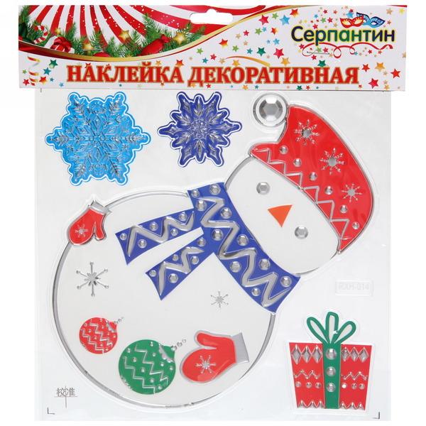 Наклейка на стекло 20*20см ″Снеговичок″ RXH014 купить оптом и в розницу