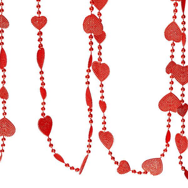 Бусы на ёлку красные 5м ″Сердечки″ купить оптом и в розницу