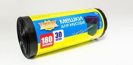 пакеты д/мусора в рулоне 180л/30шт. (крепак) 1*10 купить оптом и в розницу