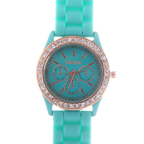 Часы наручные на силиконовом ремешке со стразами Женева, цвет мятный купить оптом и в розницу